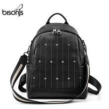 BISONJS متعددة الوظائف على ظهره الإناث جلد طبيعي السيدات حقائب كتف العلامة التجارية الصغيرة المرأة على ظهره mochila الأنثوية B1853