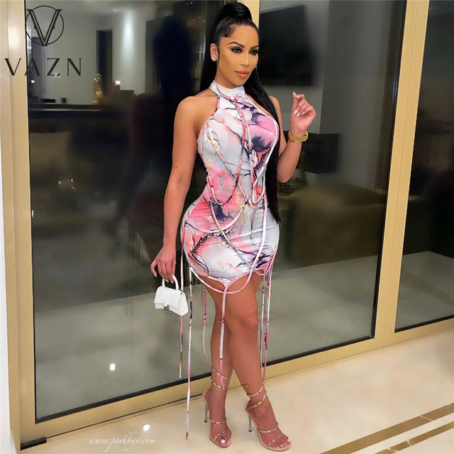 VAZN New 2021 Pleated Chic Ladies Slim Elegant Female Dress Women Deep Female Ladies Sleeveless Deep Dress Sexy Mini Beach Dress 1