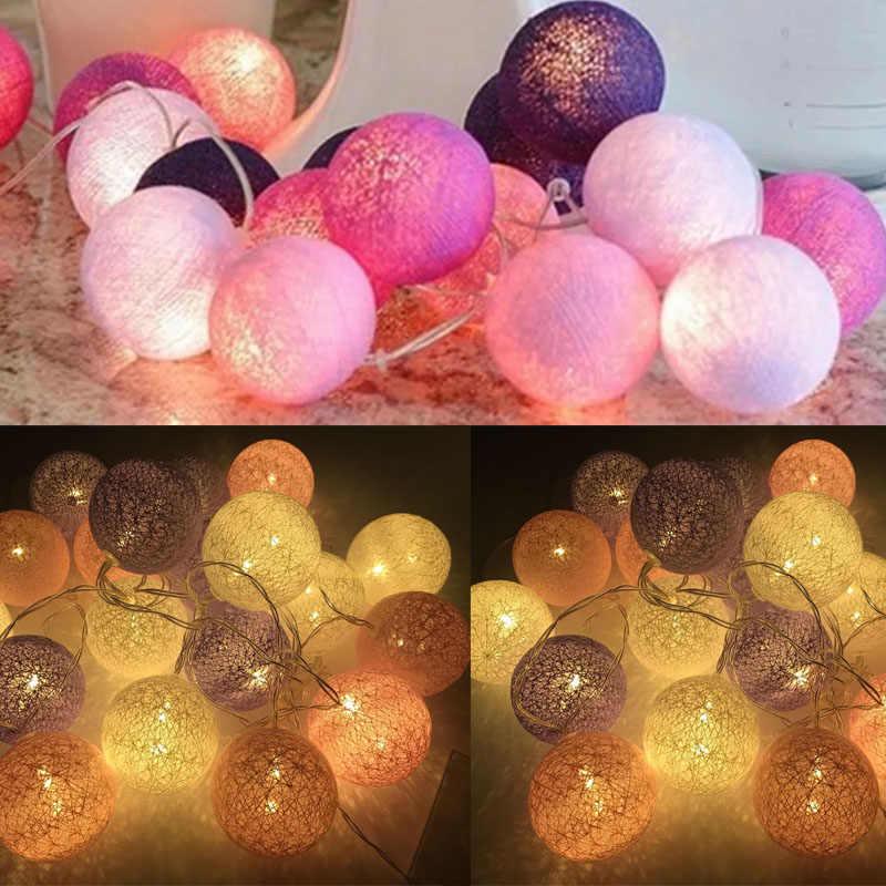 Boules de guirlande en coton 3 M, boules de coton, Led, boule de coton, fête de mariage en plein air, lumières de noël, décoration, livraison directe