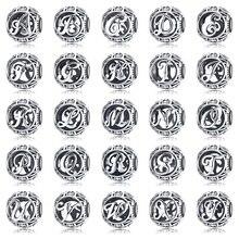 BAMOER auténtica Plata de Ley 925 Vintage A to T, claro CZ cuentas de las letras del alfabeto Fit Charm pulseras DIY joyería SCC738