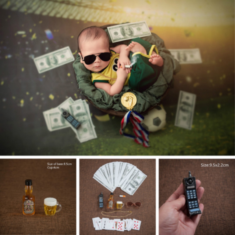 Mini Props Newborn Photography Props Baby Photo Shoot Accessories Creative Props Beer Glasses Playing Card Cigarette Necklace