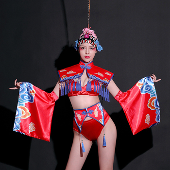 New Year'S Day Festival Outfit Retro Roupa Feminina Female Singer Costume Sexy Gogo Leading Dance Clothes Cosplay Stage Dress