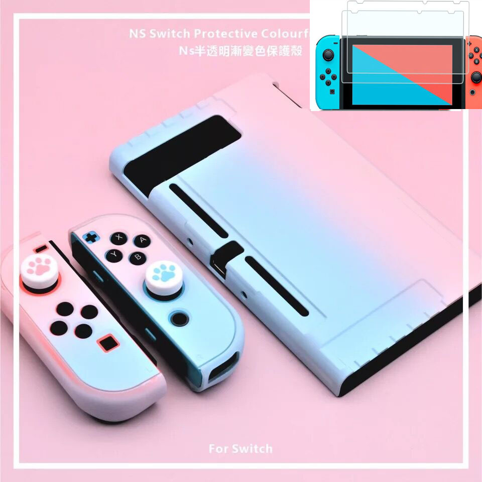 Nintend Switch NS Hard PC Protector Dockable Case Shell For Nintendo Switch NX Colorful Back Cover Housing Shell 2 Tempered Film