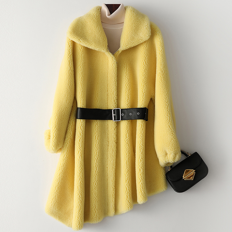 Autumn Winter Coat Women Clothes 2020 Real Fur Coat Wool Jacket Korean Vintage Sheep Shearling Women Tops Suede Lining ZT3755