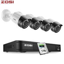 ZOSI 1080P 4CH CCTV מצלמה מערכת CVBS AHD CVI TVI וידאו עמיד למים חיצוני מצלמה טלוויזיה במעגל סגור מעקבים אבטחת מערכת DVR ערכת