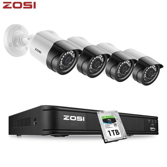 Zosi 1080P 4CH Cctv Camera Systeem Cvbs Ahd Cvi Tvi Video Waterdichte Outdoor Camera Cctv Surveillance Security System Dvr kit