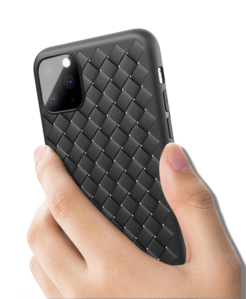 He49c323983a24b0e9e6f4f69d4fae7cbT NEW Boomboos Classic cross leather pattern weaving breathable soft grid case for iPhone11 for iphone 11 max for apple 11 pro