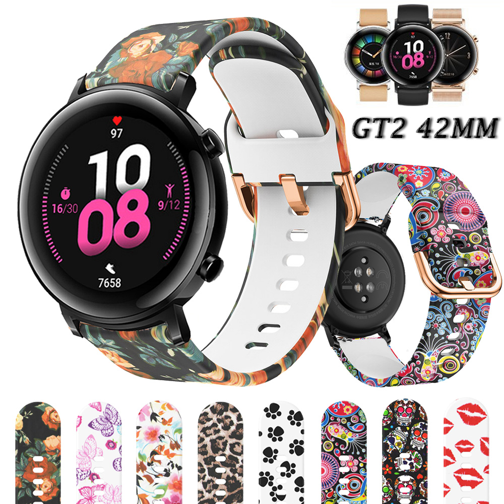 For Huawei Watch GT 2 42mm Silicone Band Wrist Fashion Printing Replacement Watchbands Bracelet GT2 20mm Watch Strap
