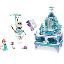 SY1442 Elsa Jewellery Box Olaf Princess Ice Snow Palace Castle 41168 Frozeningly 2 Bricks Blocks Gril Friends Dolls Toy(China)