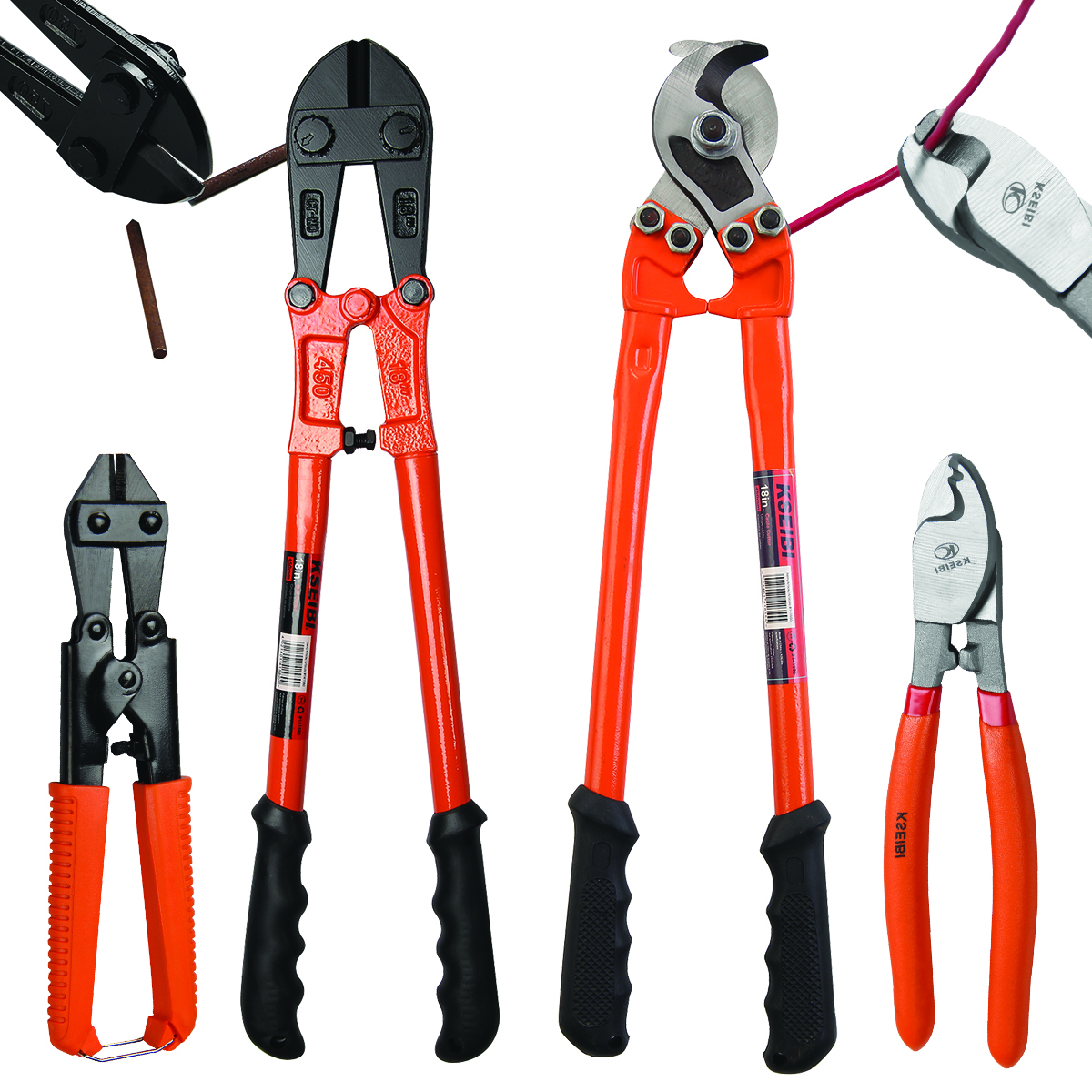 KSEIBI Bolt Cutter Wire Cable Cutting Copper Screw Cutting 6 In - 8 In - 18 In - 24 In - 30in - 32 In Large Heavy Duty Standard