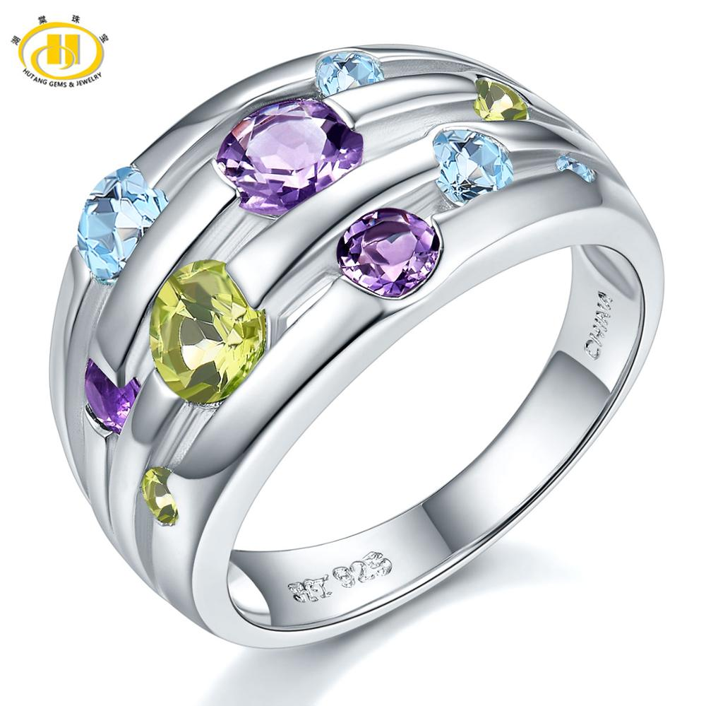 Hutang Natural Amethyst Wedding Women's Ring Peridot Blue Topaz 925 Sterling Silver Gemstone Rings Fine Elegant Jewelry For Gift