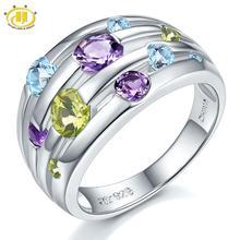อัญมณีธรรมชาติแหวนเงินSolid 925 แหวนเงินแหวนคริสตัลสีสันการออกแบบเดิมประณีตแหวนหมั้น