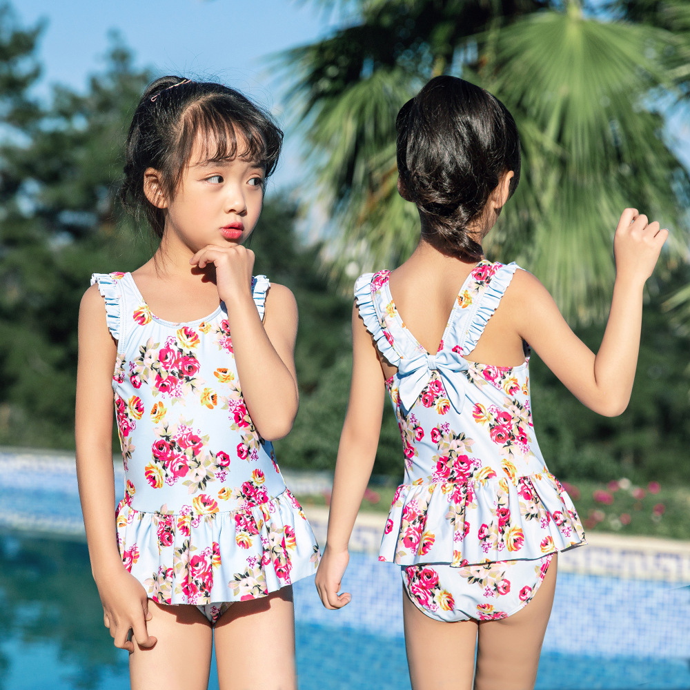 New Style Baby Hot Springs Loli Bow Cute Princess Children One-piece Swimming