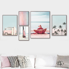 Pink Beach Palm Tree Surfboard Bus Girl Wall Art Canvas Painting Nordic Posters And Prints Wall Pictures For Living Room Decor coconut palm tree beach wall art canvas painting nordic landscape posters and prints wall pictures for living room unframed