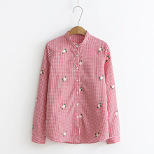 New Women Blouses Spring and Autumn Long Sleeve Embroided Stand Collar Cotton Casual Plaid Womens Tops