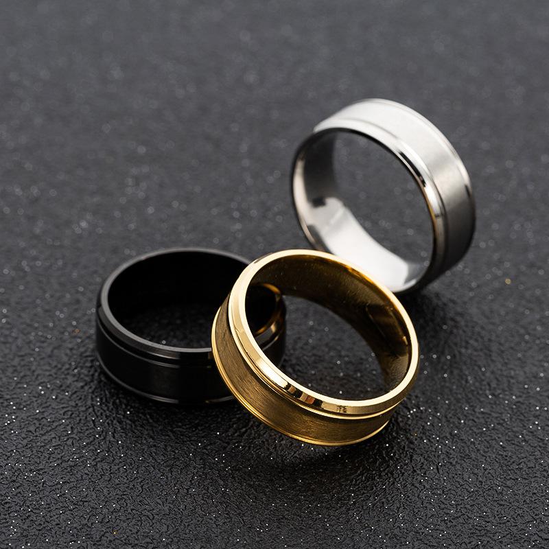 Men's wedding ring BASIC black pure 8MM stainless steel matte brushed ring, Christmas gift