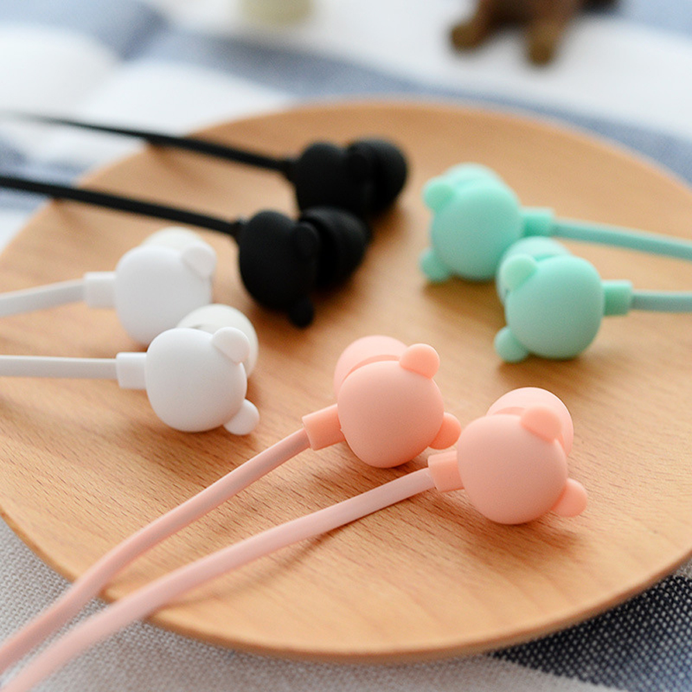 Cartoon Cute Earphone 3.5mm In Ear Wired Headset With Mic Remote Bear Earphone For IPhone Samsung Xiaomi For Children Gift Girl