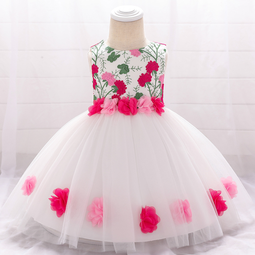 Baby Princess Dress Baby Birthday Full Moon Wine Wedding Dress Small Fresh Flowers Baby Dress