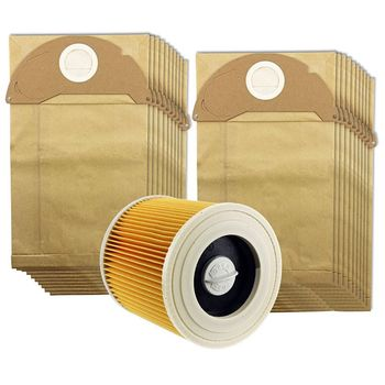 цена на For Karcher Wet&Dry WD2 Vacuum Cleaner Filter And 20 Dust Bags