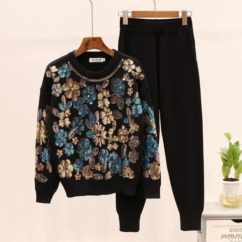 Осенний Новый Модный спортивный костюм женский комплект из 2 предметов с бисером и блестками, свитер с длинными рукавами, повседневный костюм с длинными штанами, женские трикотажные наборы