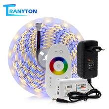 Tira de LED 5050 RGB/RGBW/RGBWW 5M cinta de luz de diodo Flexible para decoración del hogar + controlador remoto táctil 2,4G + fuente de alimentación de 12V