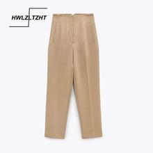 HWLZLTZHT-pantalones de oficina para Mujer, pantalón elegante con costura, Vintage, de cintura alta, con cremallera, tobillero, 2021
