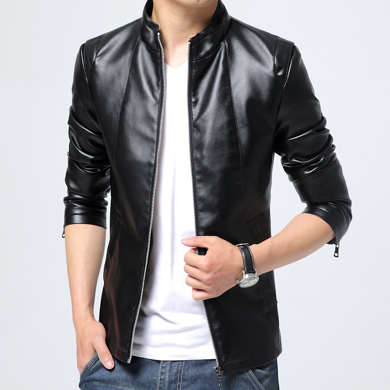 Autumn Youth Fashion Men PU Leather Coat Korean-style Slim Fit Stand Collar Youth Locomotive Thin Black Leather Coat
