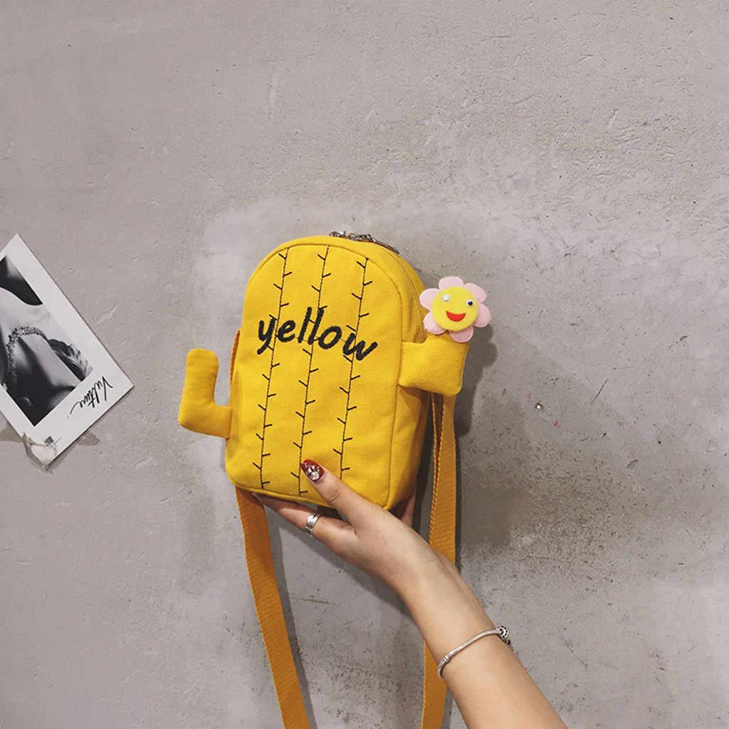 女性のファッションのキャンバスサボテンコイン財布ショルダー太陽の花カジュアルメッセンジャークロスボディバケットバッグファニーパックボルサ feminina