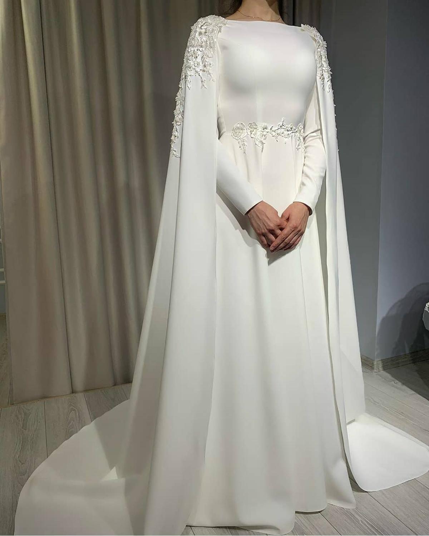 White Long Sleeve A Line Wedding Dress With Cape Lace Appliques Plus Size Satin Vestido De Novia Women Bridal Gowns