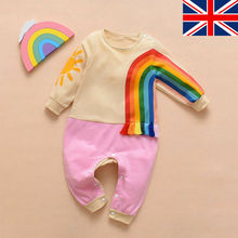 Autumn Winter Newborn Kids Baby Boy Girl Rompers Rainbow Pattern Print Long Sleeve Romper Jumpsuit Outfits 2017 quality jumpsuit print baby rompers warm autumn winter boy girl newborn children clothes kids baby clothing suit set