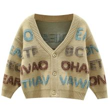 2021 Autumn Winter Boys Letter Printed Sweaters Clothes Male Child Shirt Kids Cardigan Children's Coats Children Cute Outerwear