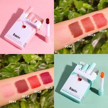 4 Colors Smoke Tube Lipstick Matte Lipstick Set Waterproof Long Lasting Lip Glos
