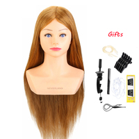100% Real Human Hair 24'' Hairdressing Training Head Hairstyle Doll With Shoulder Braiding Curling Practice Mannequin Head