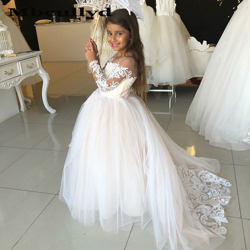 Mbcullyd Vintage Flower Girl Dresses For Weddings Blush Pink Appliqued Lace Bow Kids First Communion Gowns With Long Sleeves