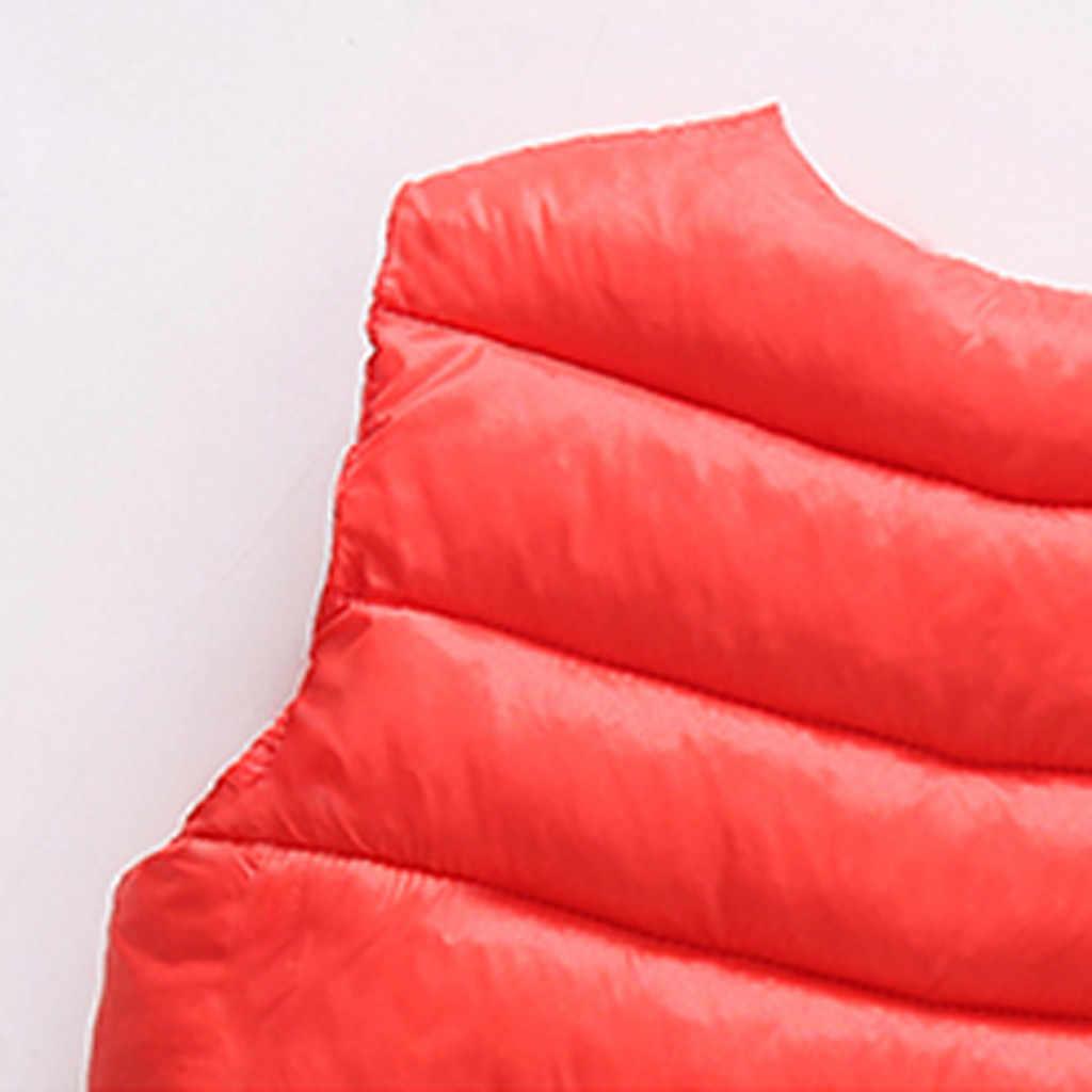 MUQGEW Chaleco de invierno cálido para niños, niños, Grils, niños, chaleco sólido, chaleco a rayas, 2019 nuevo chaleco, abrigo de abrigo
