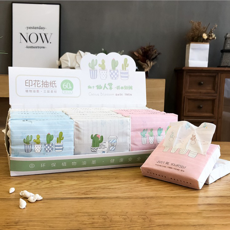 1Pack Portable Creative Printing Napkins Paper Household Restaurant Cafe 3-Layer Tissue Paper Random Color