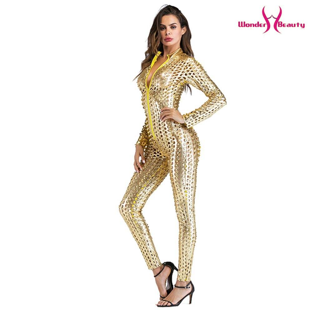 wetlook catsuit pu faux leather jumpsuit zentai costume women zipper front hollow out hole pole dance nightclub vinyl bodysuit (4)