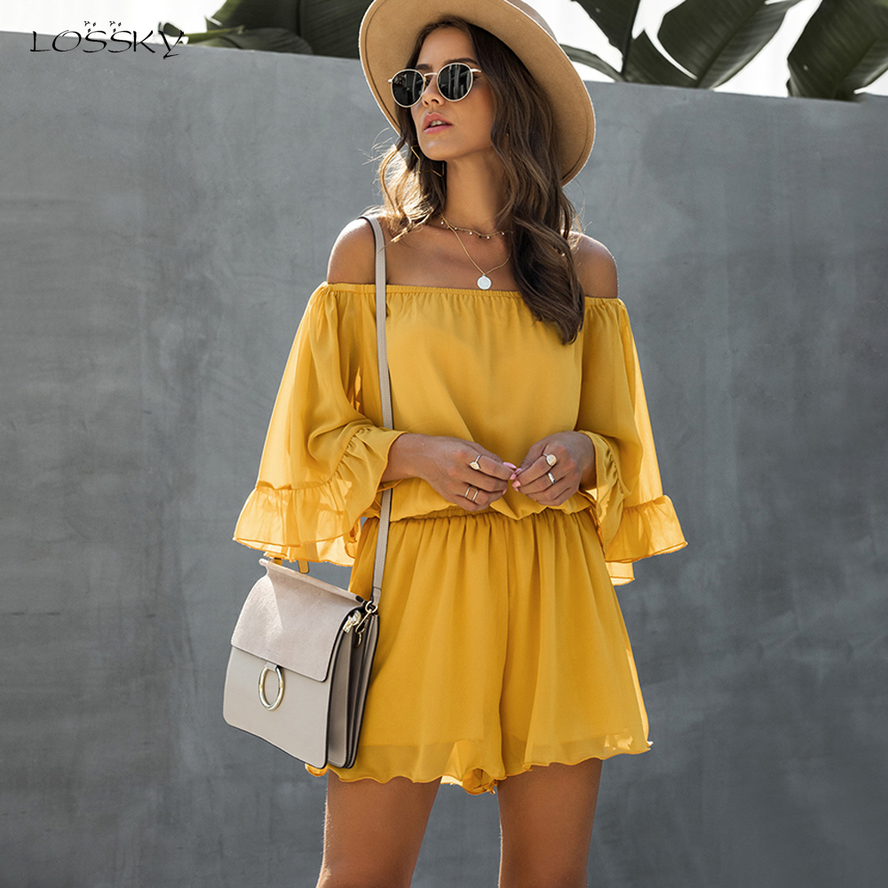 Chiffon Shorts Romper Ruffle Off The Shoulder Sexy Backless Black Wide Leg Pants Summer Tops Jumpsuit Womens Clothing Suits 2020