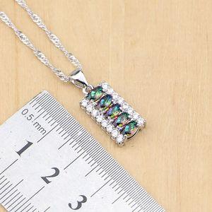 Image 3 - 925 Silver Jewelry Mystic Rainbow Fire Imitation Stones Jewelry Sets Women Wedding Earrings/Pendant/Necklace/Rings/Bracelet