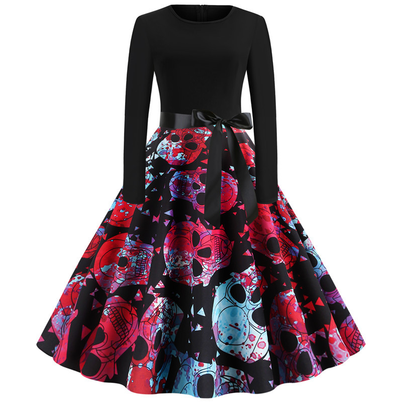 halloween black dress pumpkin skull clothes 2018 fall elegant vintage dresses sexy print gothic plus size women in Dresses from Women 39 s Clothing
