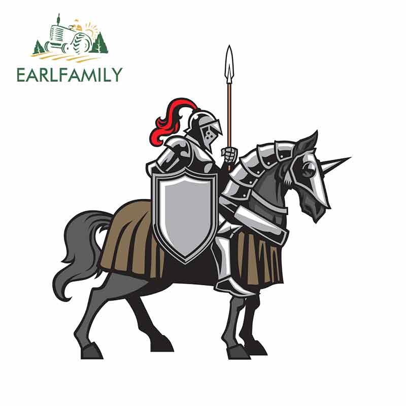 EARLFAMILY 13cm x 12.4cm For Knight With Armored Horse Funny Car Stickers Vinyl Material Decal Suitable For JDM RV Fashion
