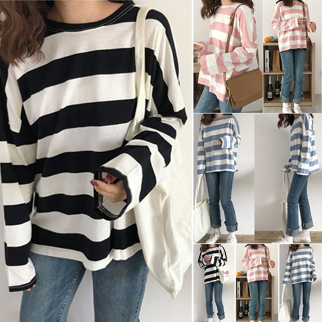Women Girls Striped Long Short Sleeve T Shirt Cloth Top Tee Casual  Clothes Streetwear Top T Shirt Women Leisure T Shirt футболк