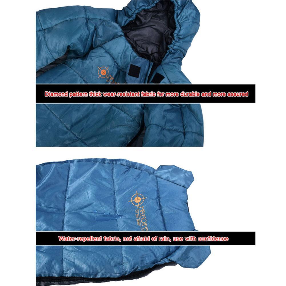 Спальный мешок в форме человека, зимний теплый удобный спальный мешок на молнии, спальный мешок для палаток, походов, походов - 5
