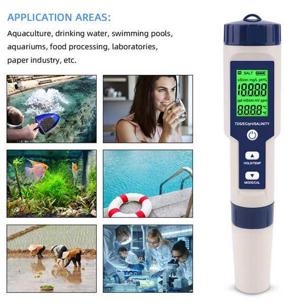 PH Temperature EC Water Digital 1 Tester Function Multi Meter Waterproof In TDS Pen Professional 5 Salinity Tester