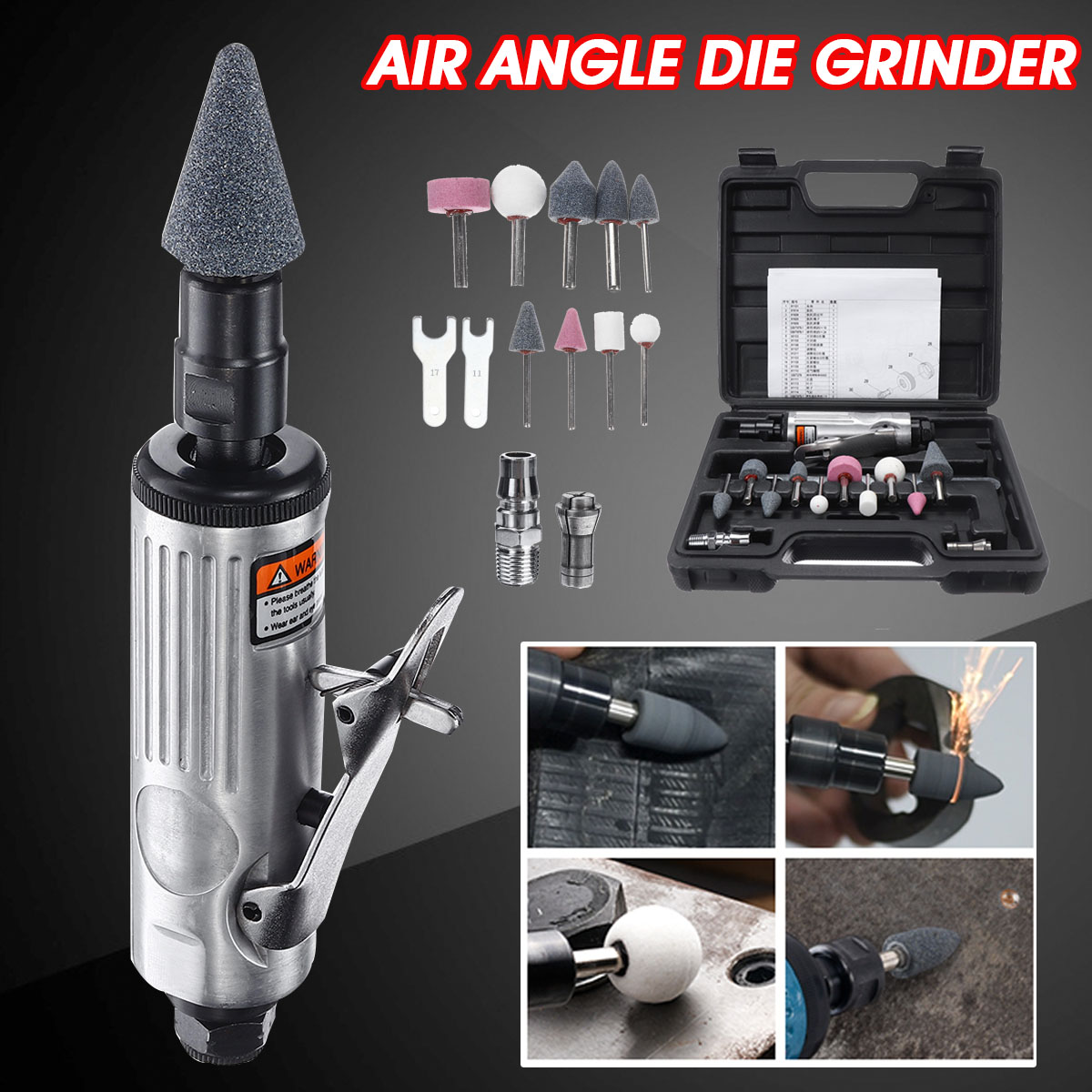 Becornce 1/4 Air Angle Die Grinder Pneumatic Grinding Machine Mini Poratble Tools Cut Off Polisher Mill Engraving Tools Set