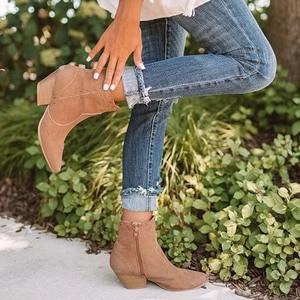 Image 2 - מגפי קרסול נשים סתיו זמש אישה רוכסן תפירת הבוהן מחודדת גבירותיי נשים עקבים שמנמנים מגפיים קצרים נעליים נקבה בתוספת גודל 2020