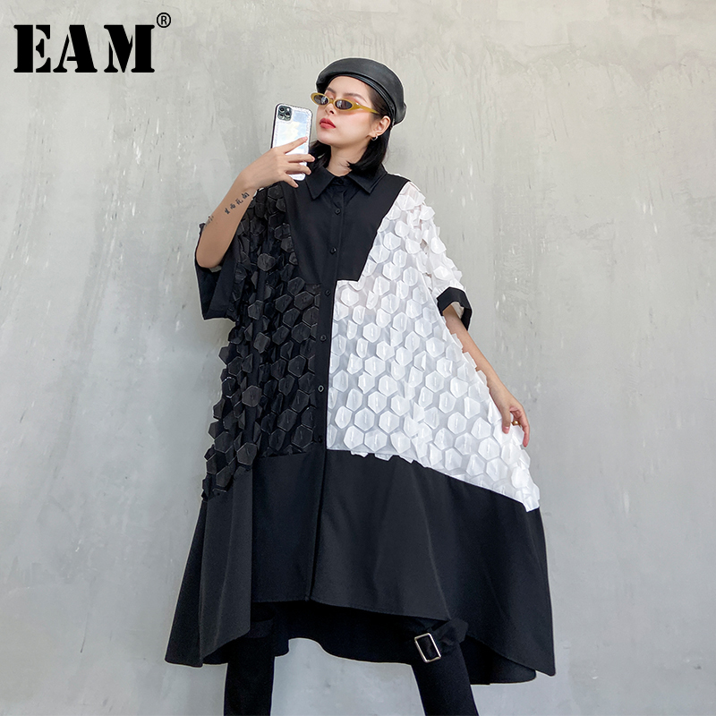 [EAM] Women Black Chiffon Split Big Size Shirt Dress New Lapel Half Sleeve Loose Fit Fashion Tide Spring Autumn 2020 1R780