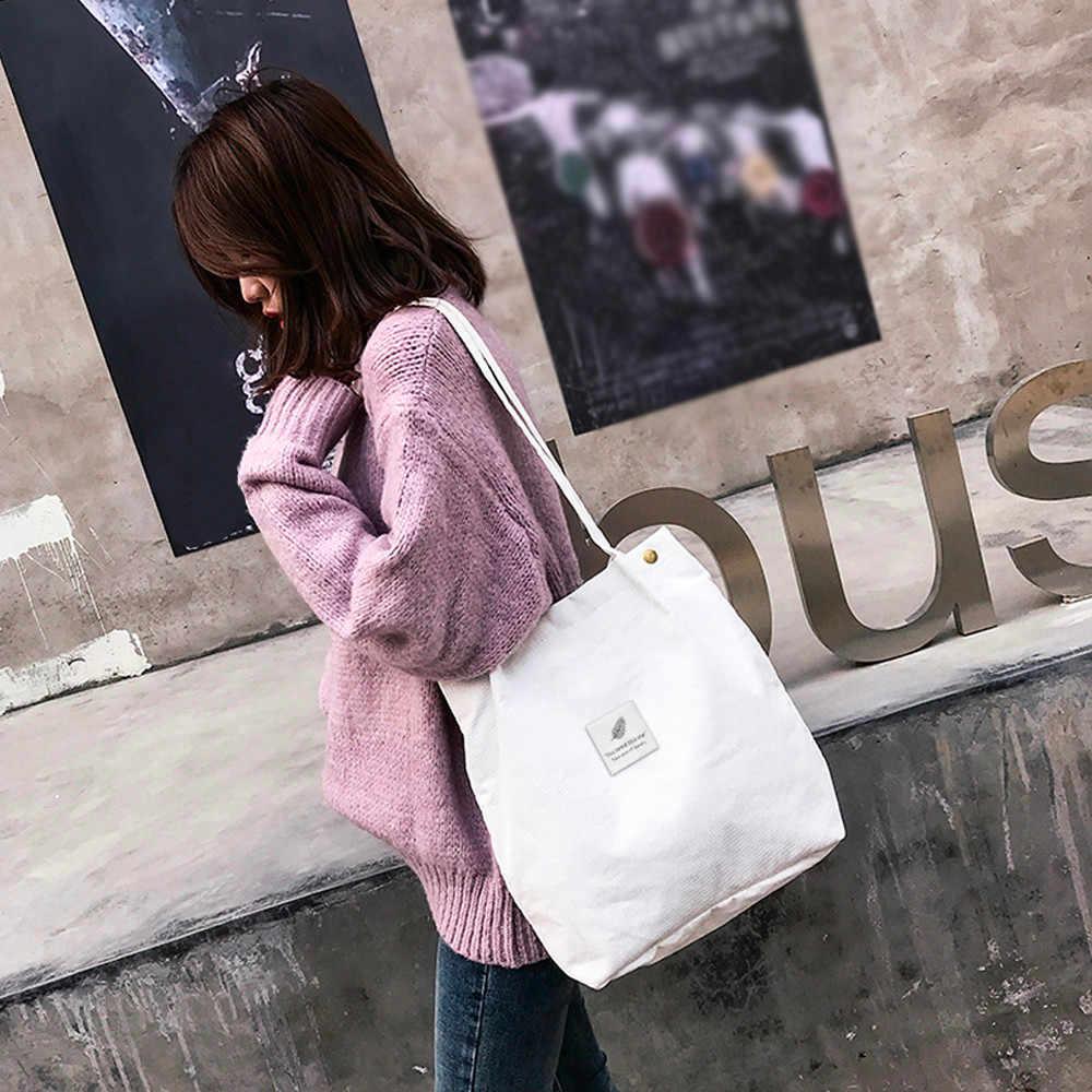 Transer Wanita Tas Bahu Tinggi Kapasitas Corduroy Tote Wanita Tangan Murni Tas Belanja Dapat Digunakan Kembali Dilipat Travel Bag # Yy