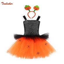 Girls Halloween Spider man Costume Party Orange TUTU Dress With Headband Children Kids Cosplay For girl Pumpkin costume