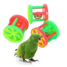 3pcs Bird Roller Rattles Toys Parrot Foot Toys Foraging Chewing Bell Training Trick Toys Play Gym Accessories for Small Parrots(China)